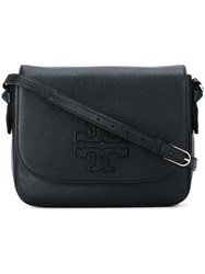 Tory Burch Logo Embossed Crossbody Bag Black
