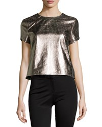 Nicole Miller Artelier Metallic Leather Short Sleeve Tee Gold Multi