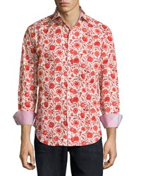 Neiman Marcus Long Sleeve Floral Print Sport Shirt Red