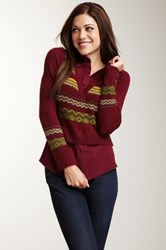 Lulu Combination V Neck Sweater Red