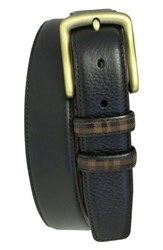 Men's Boconi 'Hendrix' Pebbled Leather Belt Black