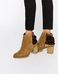 Miista Brianna Heeled Leather Ankle Boots Tan