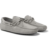 Tod's Laccetto Occh Gommino Suede Driving Shoes Light Gray