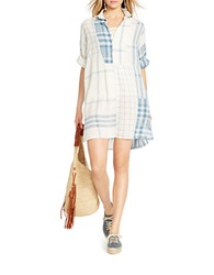 Polo Ralph Lauren Linen Patchwork Tunic Blue Cream