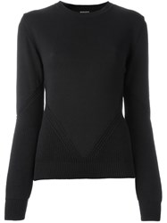 Ann Demeulemeester Ribbed Knit Panel Sweater Black