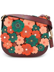 Coach Tea Rose Applique Saddle Bag Red