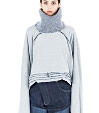 Hannah Jinkins Raglan Fisher Layered Sweater Blue