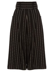 J.W.Anderson Striped Pleat Front Culottes Black White