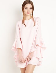 Pixie Market Pink Ruffled Bell Sleeve Babydoll Dress By New Revival