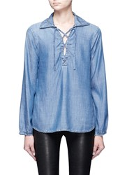 Frame Denim Lace Up Chambray Blouse Blue