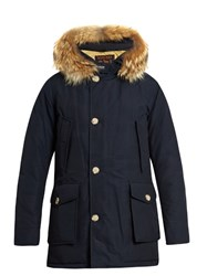 Woolrich Arctic Fur Trimmed Hooded Down Parka Navy