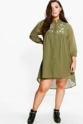 Boohoo Heather Embroidered Shirt Dress Khaki