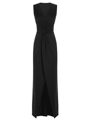 Hotsquash Long Elegant Maxi Dress With Knot Detail Black