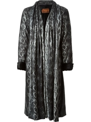 Yves Saint Laurent Vintage Snakeskin Print Coat Black