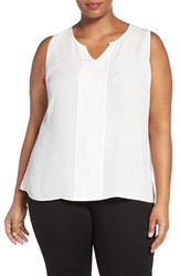 Sejour Plus Size Women's Split Neck Georgette Shell Ivory Cloud