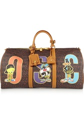 Moschino Printed Faux Textured Leather Weekend Bag