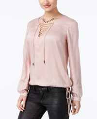 Jessica Simpson Lise Lace Up Embroidered Top Mellow Rose