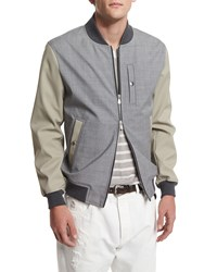 Brunello Cucinelli Mixed Media Bomber Jacket Oyster Gray Men's Size 50 M Tan Oyster Grey