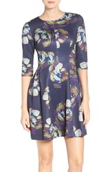 Gabby Skye Women's Floral Print Fit And Flare Dress