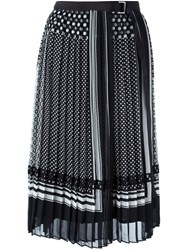 Sacai Pleated Printed Skirt Black