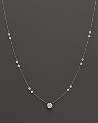 Bloomingdale's Diamond Station Necklace With Center Cluster In 14K White Gold 1.35 Ct. T.W.