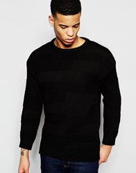 Pull And Bear Pullandbear Jumper With Patchwork Knit In Black Black