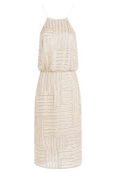 Diane Von Furstenberg Embellished Silk Dress Beige
