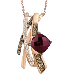 Le Vian Raspberry Rhodolite Garnet 2 3 4 Ct. T.W. And White And Chocolate Diamond 5 8 Ct. T.W. Pendant In 14K Rose Gold