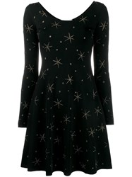 Valentino Star Embroidered Dress Black