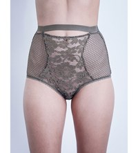 Else Petunia Stretch Lace High Waisted Briefs Sage Grey