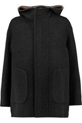 Jil Sander Fleece Wool Hooded Jacket Charcoal