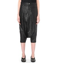 Junya Watanabe Snakeskin Embossed Dropped Crotch Trousers Black