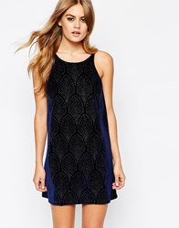 Motel Velvet Slip Dress With Glitter Pattern Navy