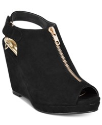 Thalia Sodi Telma Zip Front Platform Wedge Sandals Only At Macy's Women's Shoes Black