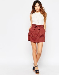 Asos Mini Skirt With Paper Bag Waist And Pocket Details Rust