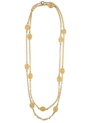 Chanel Vintage Coin Chain Necklace Metallic
