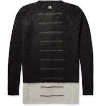 Rick Owens Colour Block Mohair Blend Sweater Black