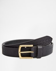 Asos Leather Belt In Black With Vintage Style Emboss Black
