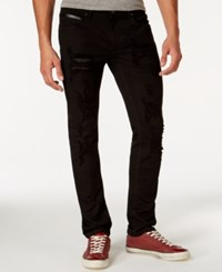 Inc International Concepts Slim Fit Black Wash Faux Leather Trim Jeans Only At Macy's