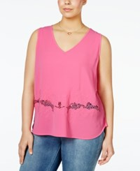 Monteau Plus Size Sleeveless Embroidered Illusion Top Hot Pink