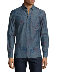 Wesc Onyx Bird Print Chambray Sport Shirt Blue