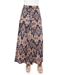 T Bags Tribal Print Maxi Skirt Navy Multicolor