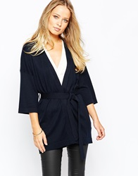 Warehouse Plain Belted Cardigan Navy