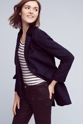 Anthropologie Chevron Sherpa Car Coat Navy