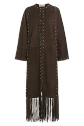Valentino Suede Coat With Fringe Brown