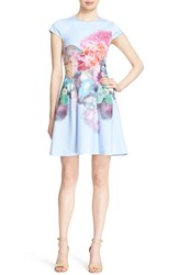 Ted Baker Women's London 'Bowkay' Floral Print Neoprene Skater Dress Pale Blue