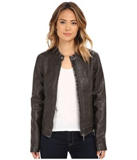 Cruel Long Sleeve Textured Faux Leather Grey Women's Clothing Gray