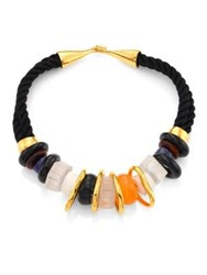 Lizzie Fortunato Quartz And Sodalite Rope Necklace Black Multi
