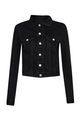 French Connection Micro Western Cropped Denim Jacket Black