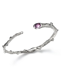Michael Aram Sterling Silver Twig Bracelet With Amethyst And Diamond Detail